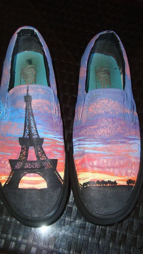 parisian sunset hand painted vans  thecobalt  etsy