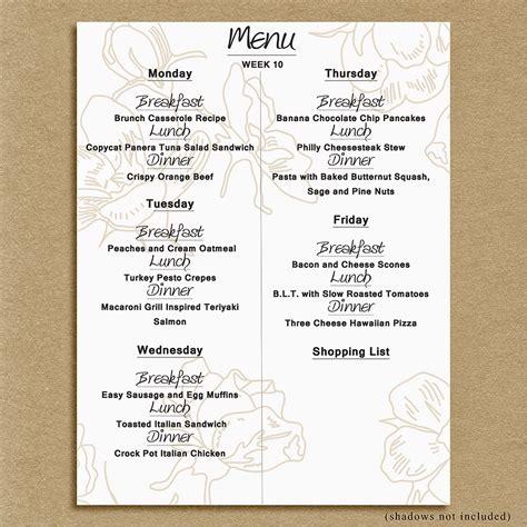 menu ideas for a dinner menu monday week 10 237 que