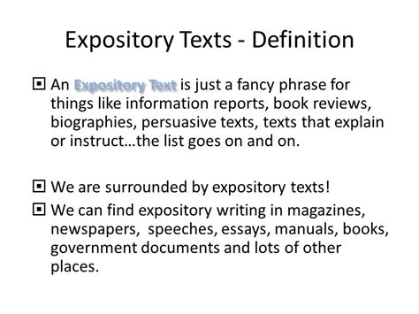 Expository Biography Definition | expository texts an introduction ppt video online download