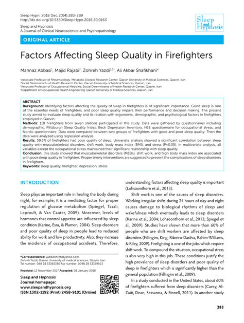 sleep quality pdf pdf factors affecting sleep quality in firefighters