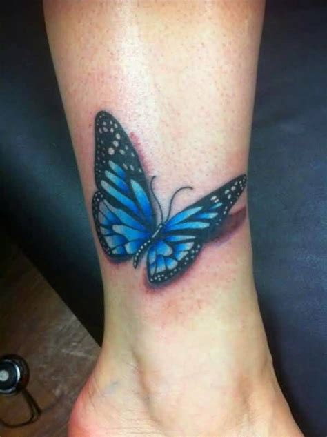butterfly ankle tattoos 3d realistic blue butterfly on ankle