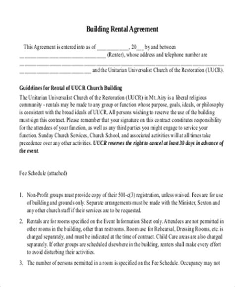 agreement letter for building rental agreement sle form 10 free documents in doc pdf