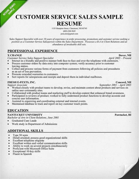 resume customer service exles customer service sales resume sle use this sle as
