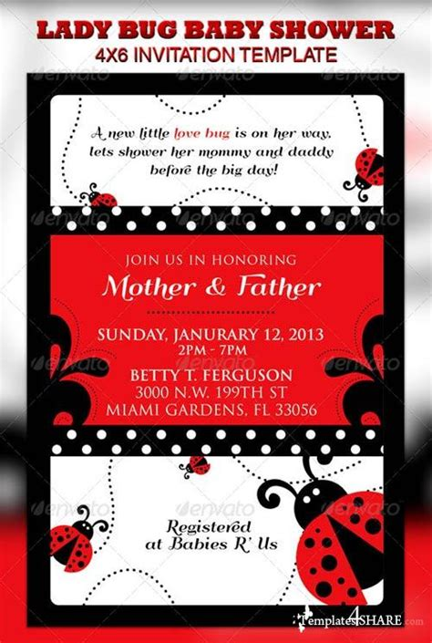 Graphicriver Lady Bug Baby Shower Invitation Raffle Ticket 187 Templates4share Com Free Web Free Printable Ladybug Baby Shower Invitations Templates
