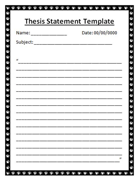 a thesis statement exle thesis statement template word excel pdf templates
