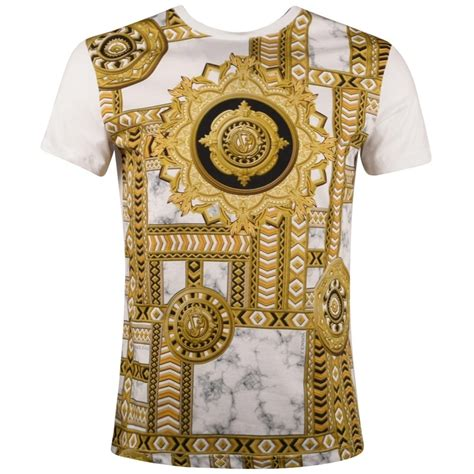 versace pattern t shirt versace jeans versace jeans white gold print t shirt