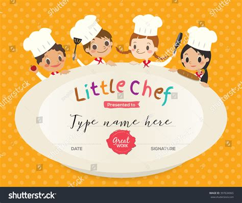 chef certificate template cooking class certificate design template stock