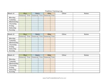 printable triathlon training log