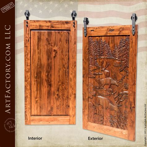 carved barn door solid wood sliding