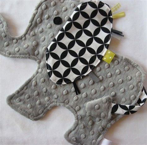 Handmade Taggies - elephant lovey with your choice of ribbon colors