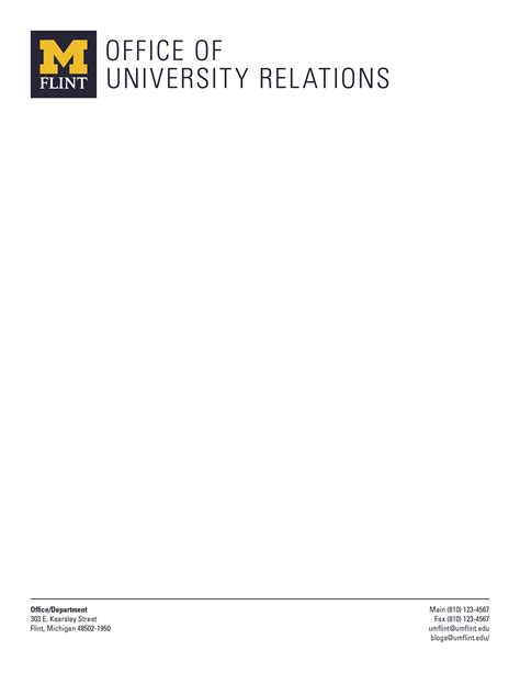 Official Letterhead School New Um Flint Business Card And Stationery Um Flint Relations