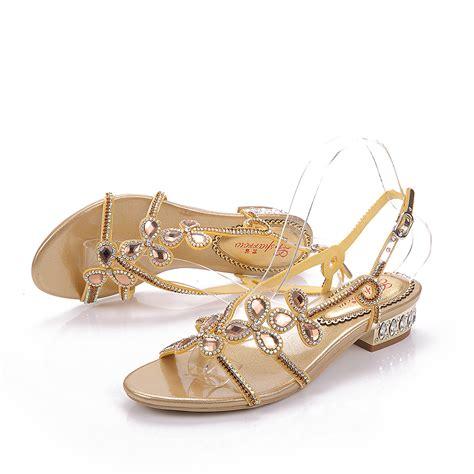 Designer Gold Wedding Shoes by Gold Wedding Shoes Low Heel Is Heel