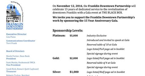 Sponsorship Letter Matter Franklin Matters Help Sponsor The Downtown Partnership Gala On Nov 12