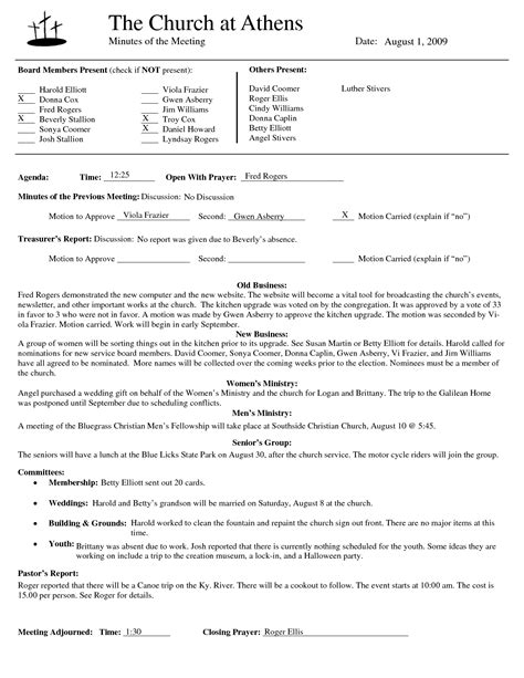 church minutes template best photos of template of minutes of meetings exles