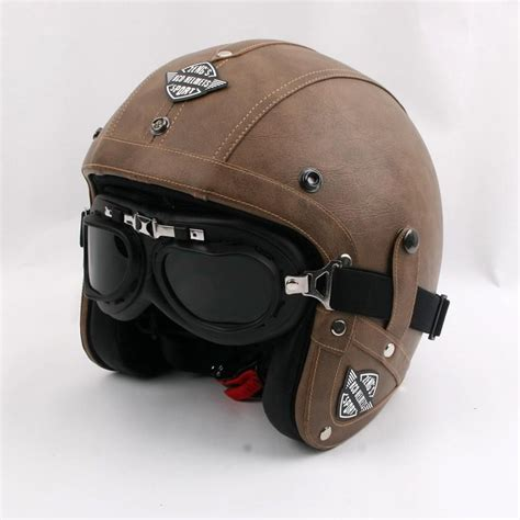 brand kco motorcycle helmet retro pu leather open face