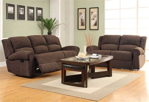 sofa loveseat ottoman set homelegance esther reclining sofa set dark brown