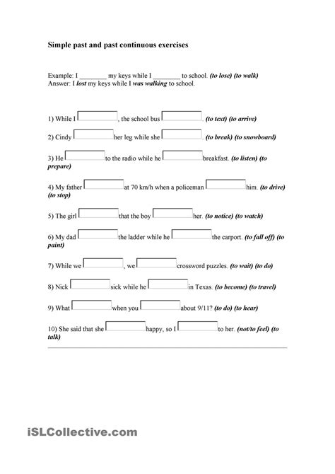 past tense exercises worksheets simple past and past continuous exercises tefl tesl