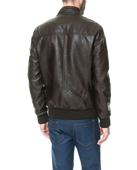 Jual Leather Jacket Zara zara faux leather jacket with chest seam in brown for lyst