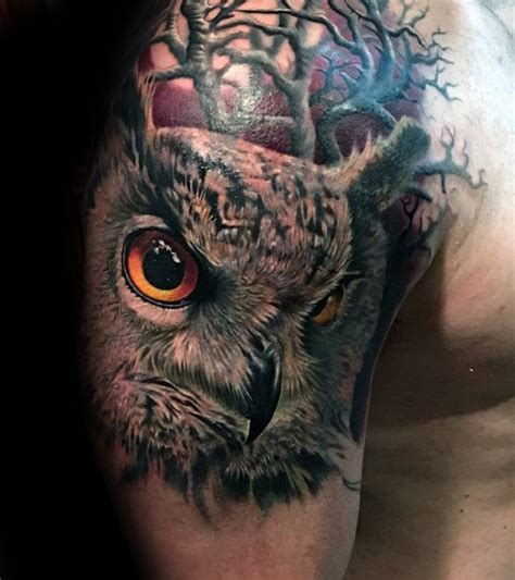 realistic owl tattoo guys owl with trees realistic arm and shoulder