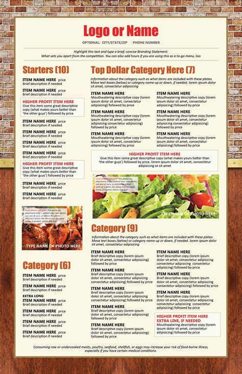 design online menu easy menu design online menu templates from the menu maker