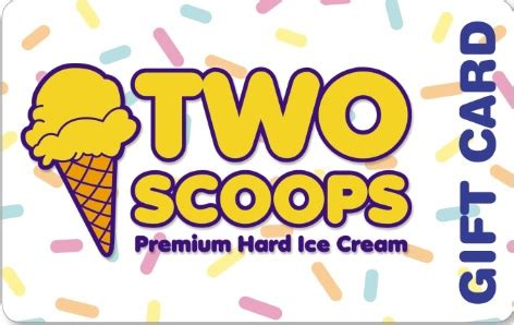 Ice Cream Gift Cards - two scoops super premium ice cream gift cards