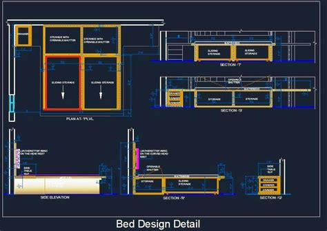 Kitchen Design Software Free Download 3d by Double Bed Detail With Sliding Storage Plan N Design