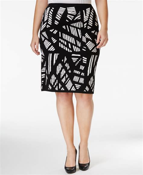 calvin klein plus size printed knit pencil skirt in black
