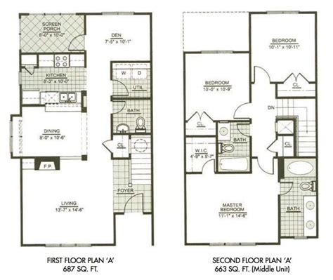 Two Story Two Bedroom House Plans by Modern Town House Two Story House Plans Three Bedrooms