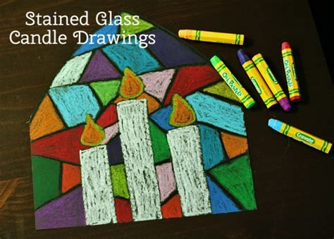 eleentary school christmas art colorful stained glass candle drawings make and takes