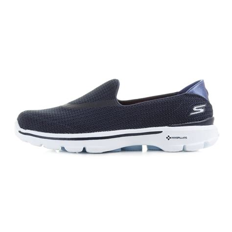 womens skechers go walk 3 navy white slip on comfort casual shoes shu size ebay