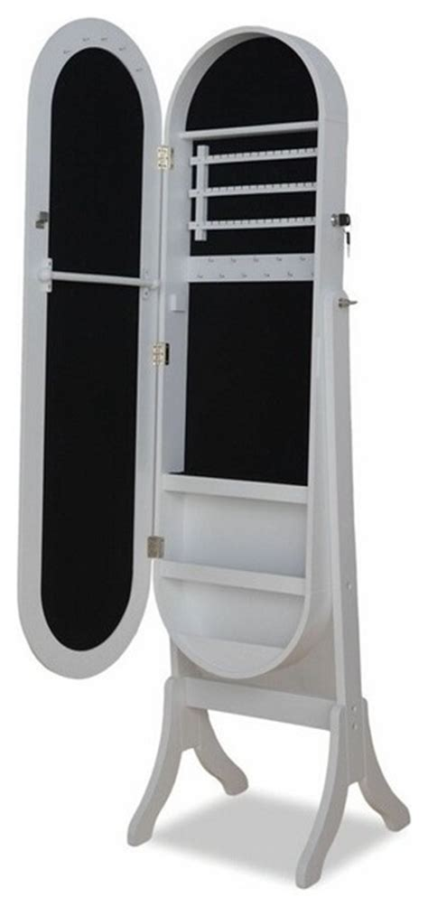 standing mirror jewelry armoire white jalyn white finish wood oval shaped free standing cheval