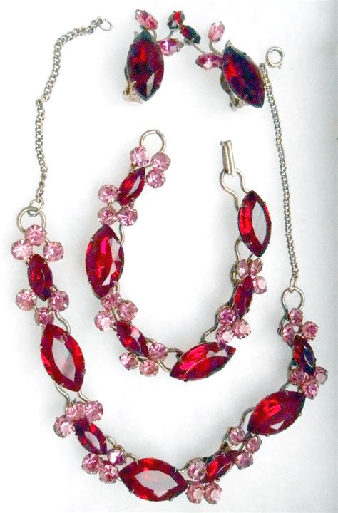 01 Pink Ruby ruby rhinestone necklace brooch earring set parure