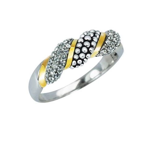 swarovski ribbon ring thin 14k gold and sterling ring