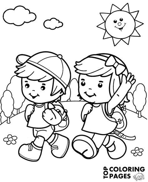 happy children  summer trip  quality coloring page sheet