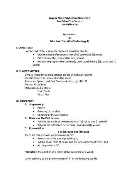 detailed lesson plan template semi detailed lesson plan s sound and z sound
