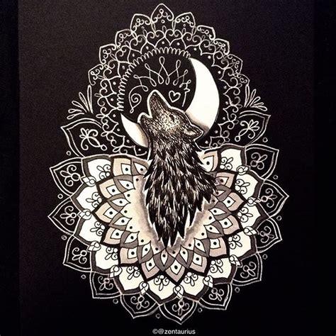 howling wolf mandala by zentaurius deviantart com on