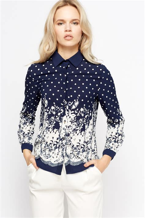 Blouse Polka contrast printed hem polka dot blouse just 163 5