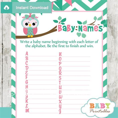 printable owl themed baby shower games mint green pink owl baby shower games d126 baby