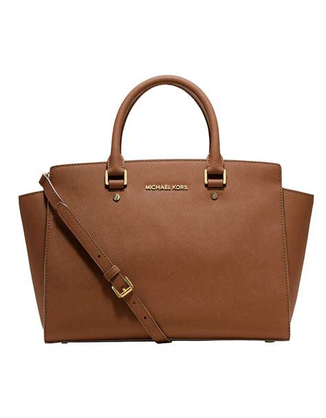 Michael Kors Selma Semi Premium michael michael kors selma saffiano leather large satchel in brown lyst
