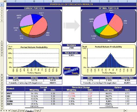 Investment Portfolio Review Template Portfolio Optimization Excel Template