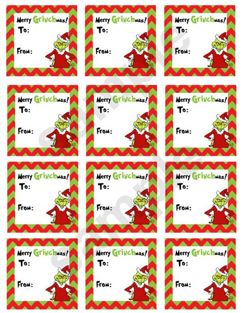Free Printable Grinch Gift Tags | items similar to grinch holiday gift tags diy digital