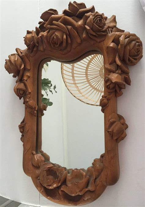 fancy palm border decorative mirror with etched carved masterly carved wood art wall mirror frame with roses