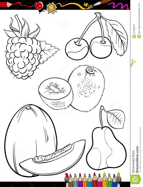 white food coloring fruits set for coloring book royalty free stock