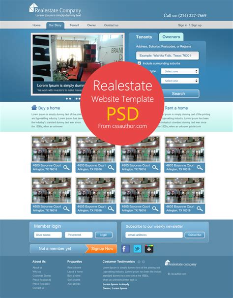 web template design psd free download real estate website template psd for free download