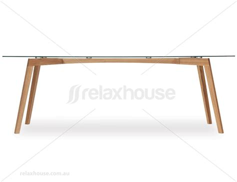 Similda natural solid oak 220x90cm glass dining table ton cz