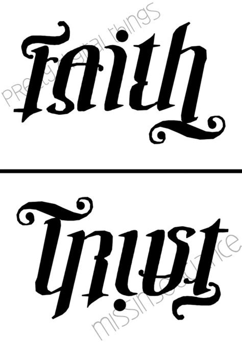alphabet anagram tattoo faith trust ambigram digital poster custom by