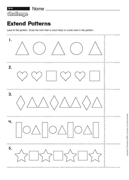 geometric pattern worksheets kindergarten math worksheets 187 geometric patterns math worksheets