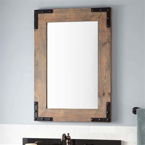 Bonner Reclaimed Wood Vanity Mirror Gray Wash Pine Mirror On Mirror Bathroom
