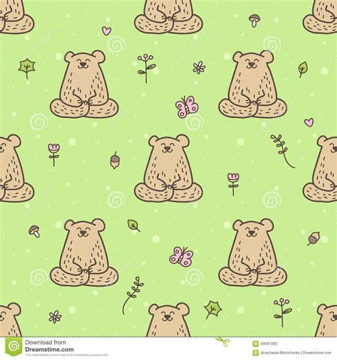 yoga pattern vector vector cute yoga bear seamless pattern meditating stock