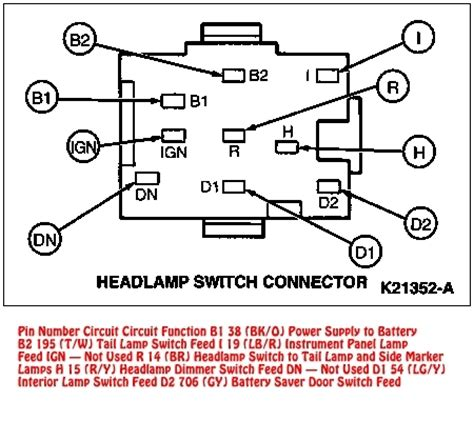 94 95 mustang headlight switch connector diagram inside